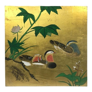 Oriental Duck Couple Gold Leaf Panel Art