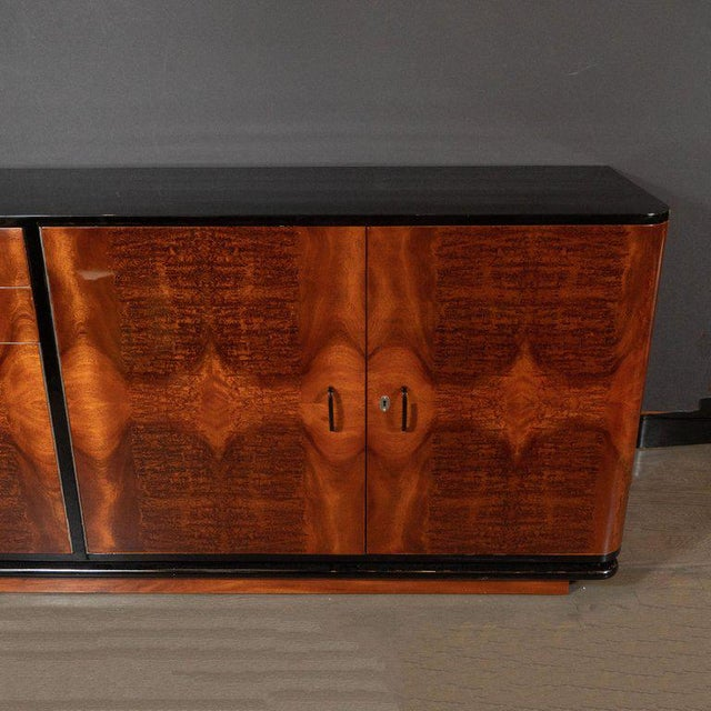 Art Deco Art Deco Machine Age Burled Bookmatched Walnut and Black Lacquer Sideboard For Sale - Image 3 of 10