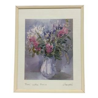 Floral Arrangment Watercolor Lithograph For Sale