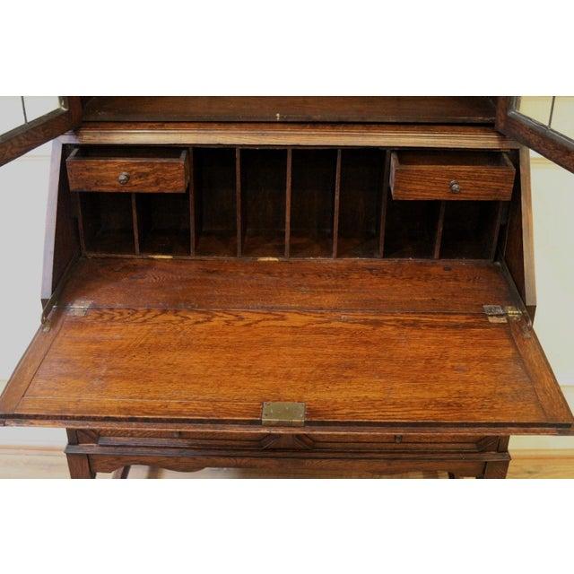 1910s Jacobean Oak Bureau Bookcase For Sale - Image 10 of 13