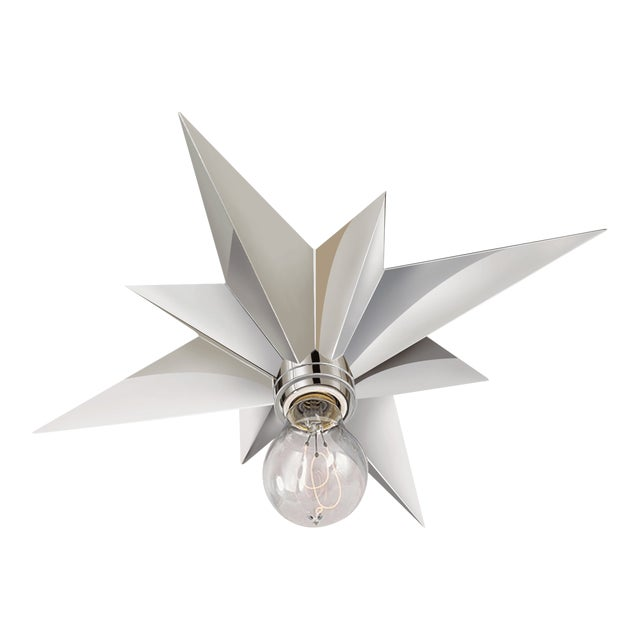 Star Flush Mount Light Fixture in Polished Nickel For Sale