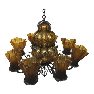 1970s Gothic Murano Caged Amber Glass Chandelier For Sale