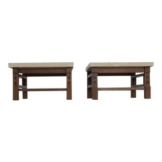Pair Gianfranco Frattini Side Tables with Travertine Top For Sale