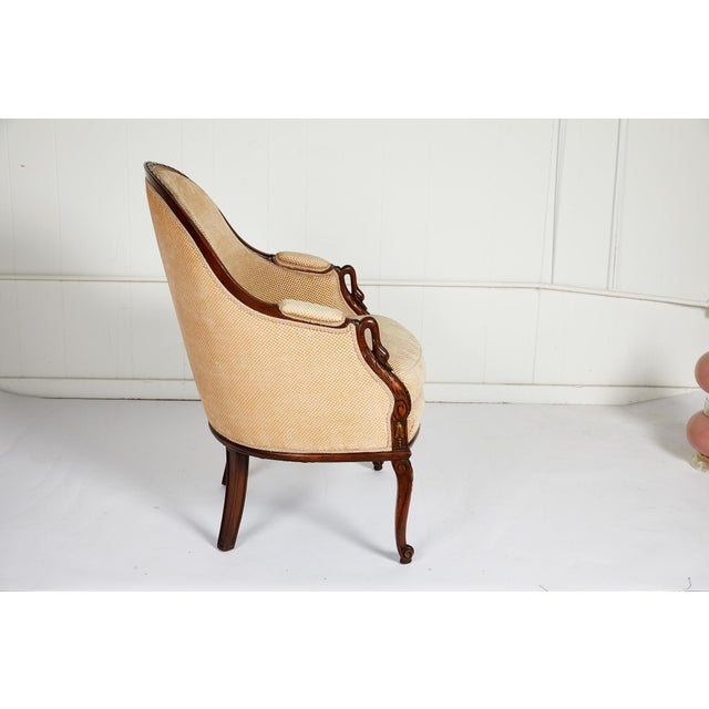 Art Deco French Empire Style Swan Arm Tub Chair For Sale - Image 3 of 9