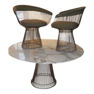 Warren Platner Arabesque Marble Dining Table with Four Chairs For Sale