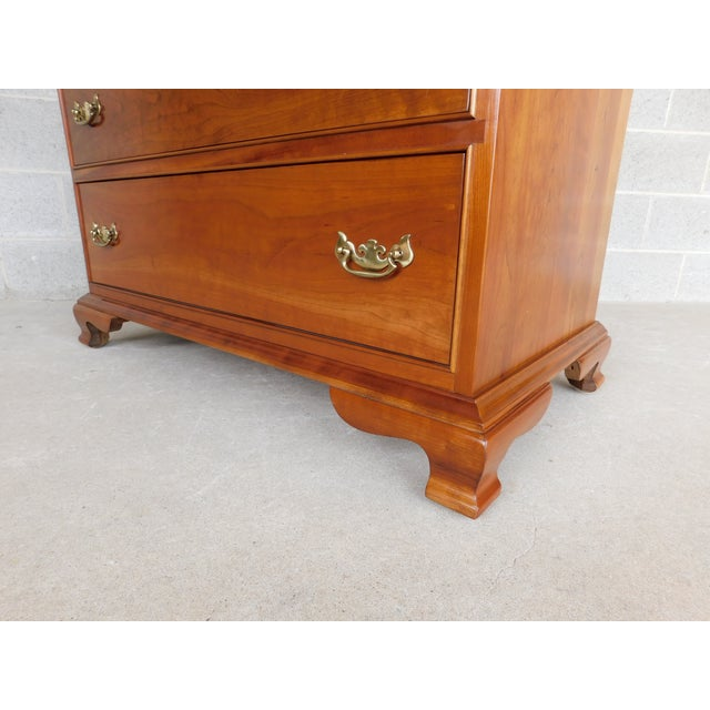 "Late 20th Century L & J G Stickley Cherry Valley Chippendale Style 5 Drawer Chest 38""w For Sale - Image 5 of 10"