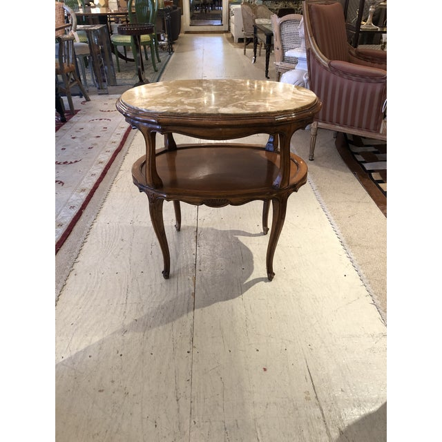 French Provincial Style Marble Inset Two-Tier Fruitwood Oval Side Table For Sale - Image 13 of 13