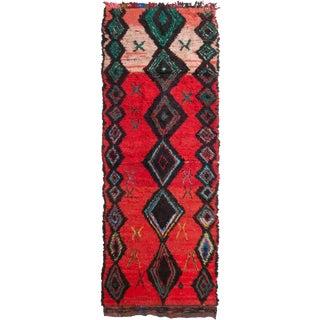 Rug & Kilim Moroccan Red & Black Rug - 4′2″ × 11′ For Sale