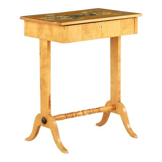 19th C. Northern European Birch and Decoupage End Table For Sale