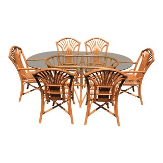 Bamboo & Rattan Dining Set For Sale