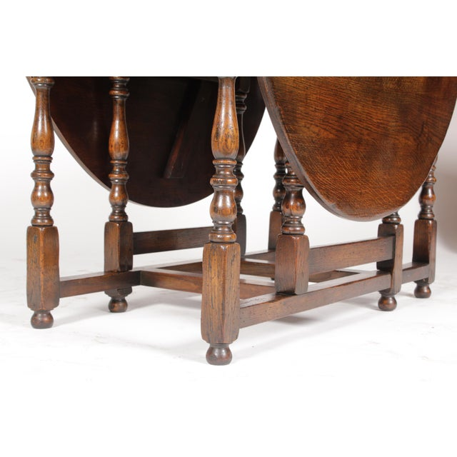 Oak 1920s English Jacobean Gateleg Table For Sale - Image 7 of 11