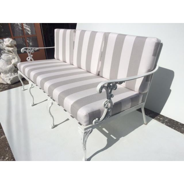 Traditional Metal Garden Sofa With Sunbrella Cushions For Sale - Image 3 of 13