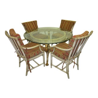 1970's Traditional Rattan Round Dining Set - 5 Pieces For Sale