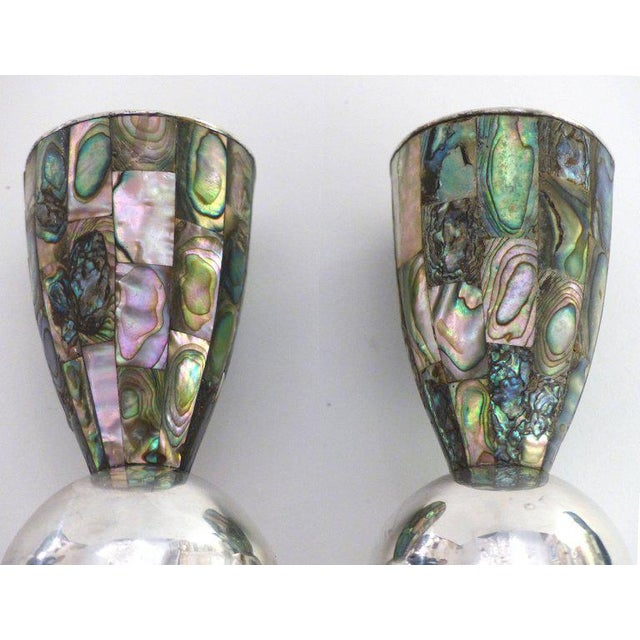 Mid-Century Modern Los Castillo 'Taxco, Mexico' Silver Plate and Abalone Candleholders - A Pair For Sale - Image 3 of 10