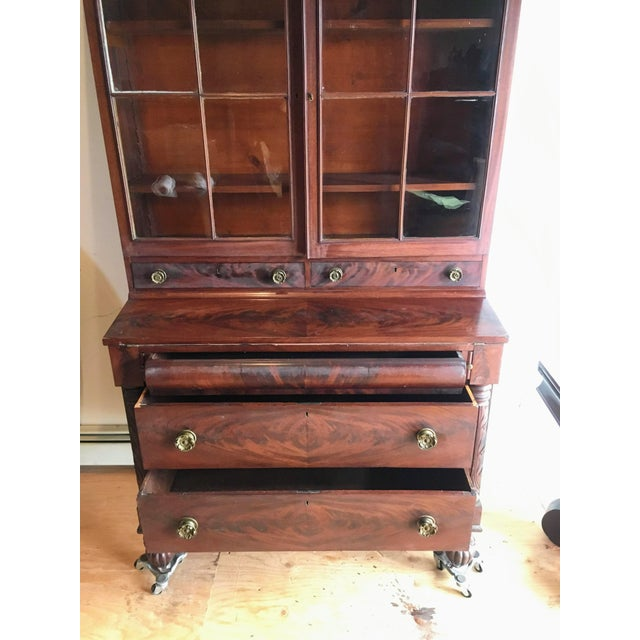 American Empire Secretary With Glass Door For Sale - Image 4 of 11