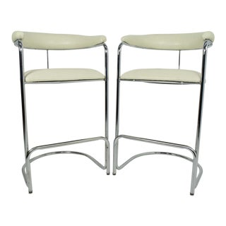 Thonet Attributed Barstools in New Duralee Upholstery - A Pair For Sale