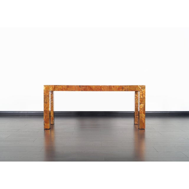 Vintage brutalist copper patchwork console table in the manner of Paul Evans, circa 1970s.