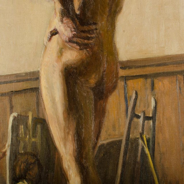 19th Century Portrait of a Nude Male Study Oil Painting by Louis Henri Revillon For Sale - Image 10 of 13