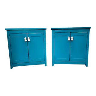 Solid Hardwood Nightstands, Teal With Mercury Glass Hardware- a Pair