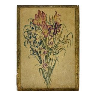 1960s Italian Florentine Box With Floral Bouquet Motif For Sale