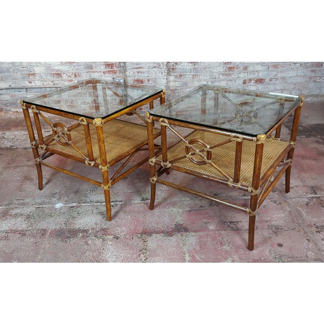 McGuire Bamboo & Glass Top Side Lamp Tables - A Pair For Sale - Image 11 of 11