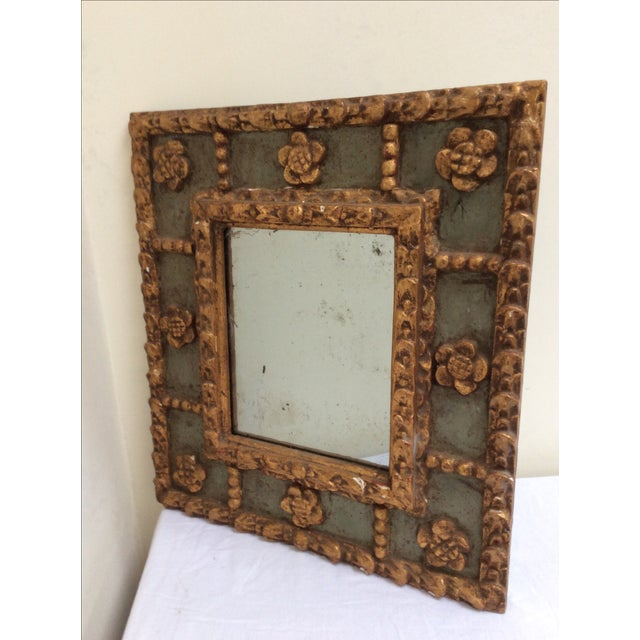 Beautiful small green and gold framed mirror. The Mirror plate is early 19th C and the frame is 20th century. This has a...