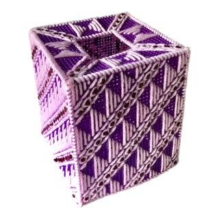 Vintage Ultra Violet Purple Woven Knit Tissue Box Cover | Bathroom Decor