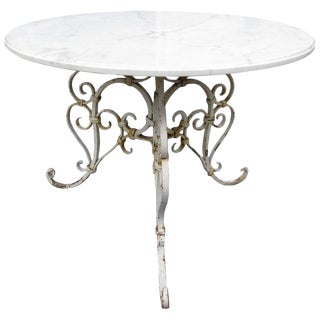 Vintage Marble-Top Patio Table For Sale