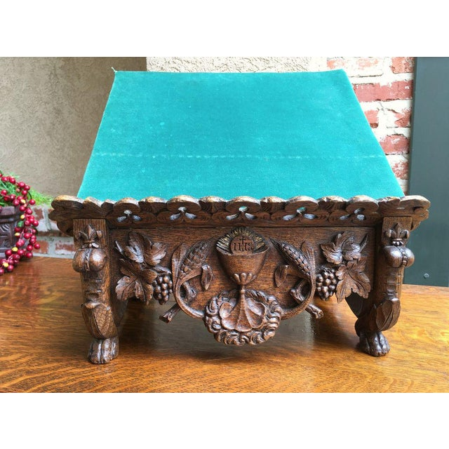 Felt Late 19th Century Antique English Carved Oak Altar Stand For Sale - Image 7 of 11
