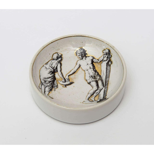 Italian Italian Signed Fornasetti Porcelain/Gold Period Round Bowl/Dish For Sale - Image 3 of 11
