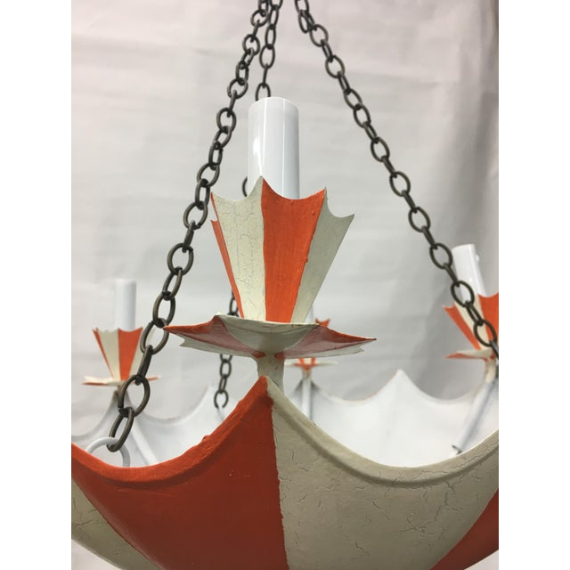 French Vintage Upside-Down French Umbrella 6-Light Chandelier For Sale - Image 3 of 4