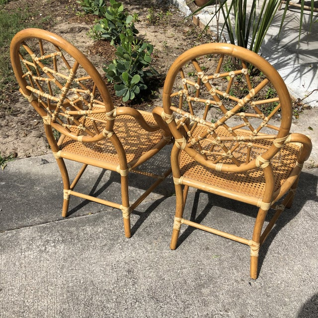 """Brown Hollywood Regency McGuire """"Cracked Ice"""" Rattan Chairs - a Pair For Sale - Image 8 of 10"""