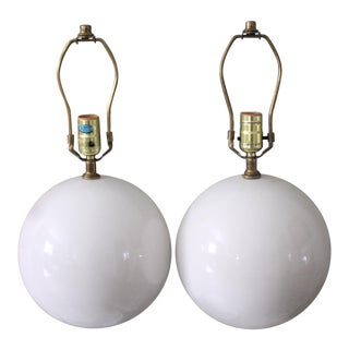 Mid-Century Minimalist White Round Ball Lamps - a Pair For Sale