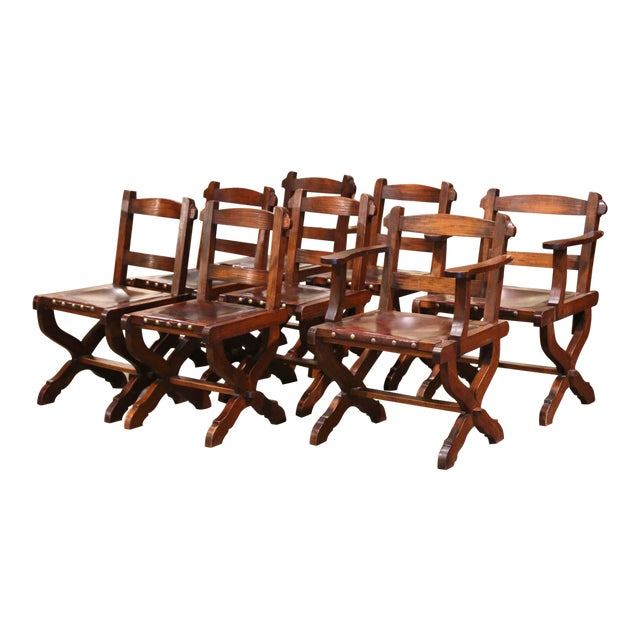 Spanish Carved Oak and Leather Dining Chairs, Set of 6 Side Chairs 2 Armchairs For Sale