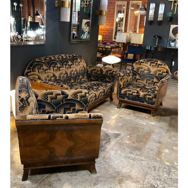 Glamorous Art Deco Sofa and Two Chairs Suite in Cotton Velvet, Italy, 1920s For Sale - Image 11 of 12