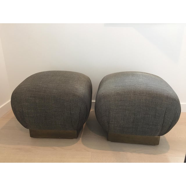 Pouf-Style Brown Ottomans - A Pair - Image 2 of 7