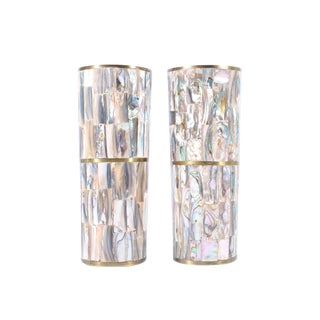 1970s Vintage Mexican Abalone and Metal Tall Tumblers - a Pair For Sale