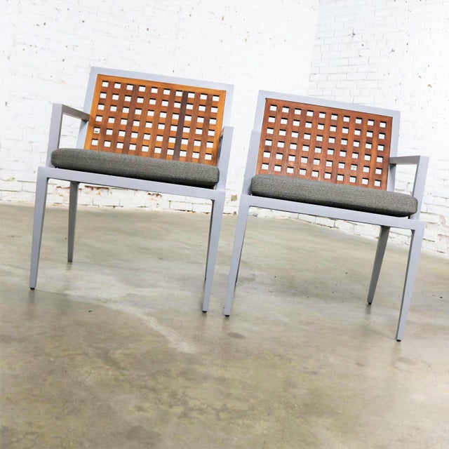 Gray Pair of Aluminum and Teak Archetype Patio Chairs by Michael Vanderbyl for McGuire For Sale - Image 8 of 13