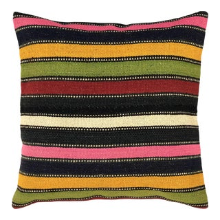 "Sunny Stripe Vintage Kilim Pillow 20"" For Sale"