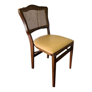 Mid Century Walnut Dining Folding Chair For Sale
