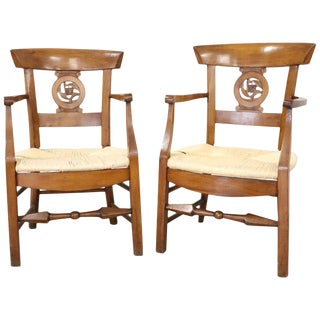18th Century Italian Louis XVI Cherrywood Pair of Armchairs With Straw Seat For Sale