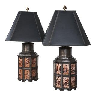 Vintage Pewter Asian Style Nonagon Table Lamps - A Pair For Sale