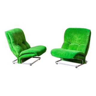 1970s Vintage Green Velvet and Chrome Italian Slipper Chairs- A Pair For Sale