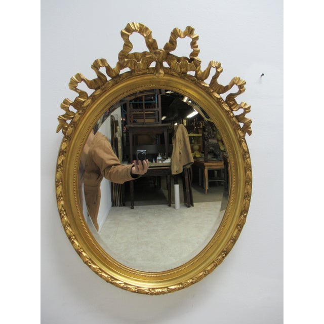 Vintage French Regency Gold Gilt Oval Hanging Wall Mirror For Sale - Image 13 of 13