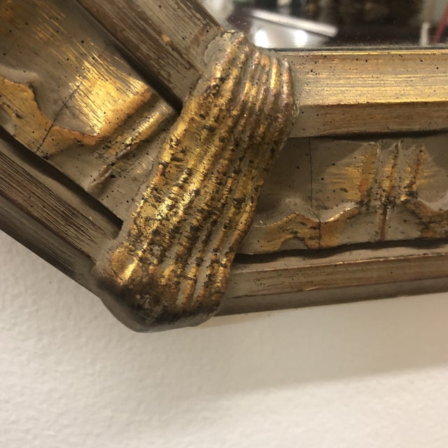 Traditional Carved Octagonal Wall Mirror For Sale - Image 3 of 5