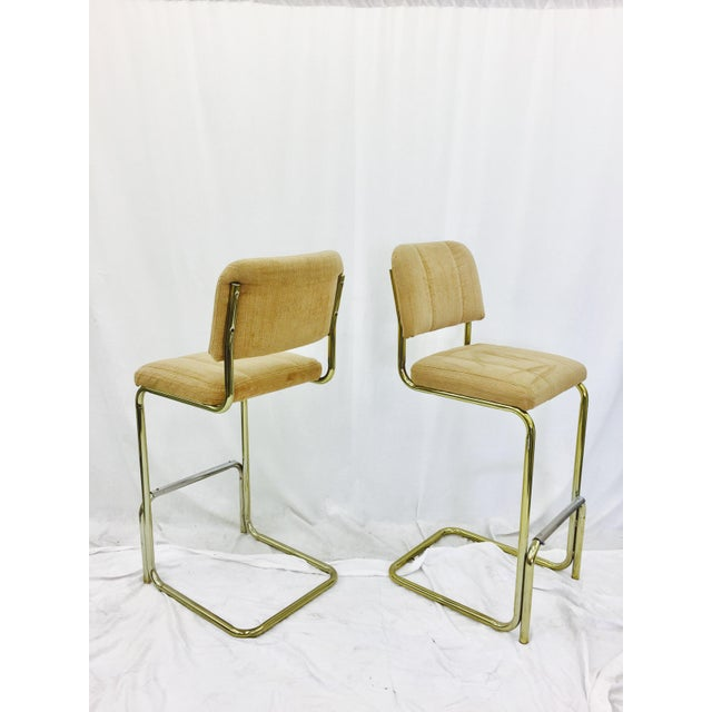 Brass Vintage Mid-Century Modern Bar Stools - A Pair For Sale - Image 7 of 7