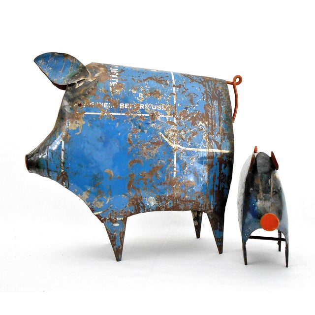 Recycled Metal Pig Sculptures - a Pair - Image 6 of 8