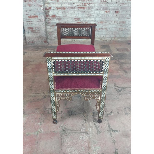 Islamic Fabulous Syrian Bench Mother of Pearl Inlaid W/Burgundy Upholstery For Sale - Image 3 of 10