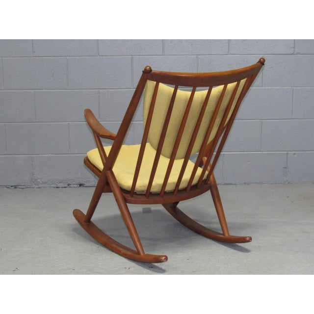 Mid-Century Modern Danish Teak Rocking Chair by Frank Reenskaug for Brahmin For Sale - Image 3 of 6