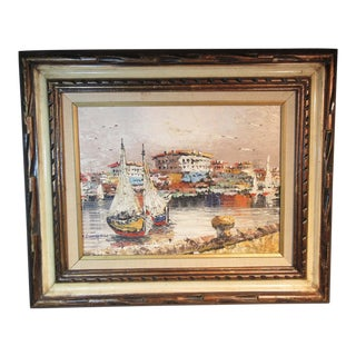 """""""Marine Harbor Scene Boats"""" Oil Painting on Canvas by Rikard Lindstrom For Sale"""